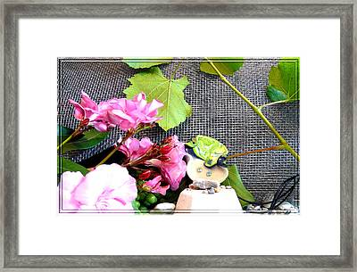 Among Leaves And Flowers Framed Print by Chara Giakoumaki