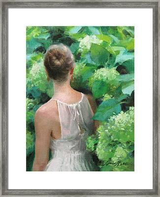 Among The Hydrangeas Study  Framed Print by Anna Rose Bain