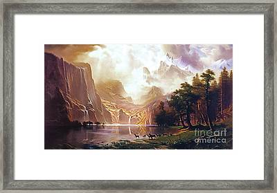 Framed Print featuring the painting Among The Sierra Nevada California By Albert Bierstadt 20170409 by Wingsdomain Art and Photography
