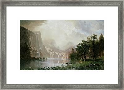 Among The Sierra Nevada Mountains California Framed Print by Albert Bierstadt