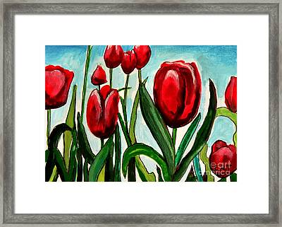 Among The Tulips Framed Print by Elizabeth Robinette Tyndall