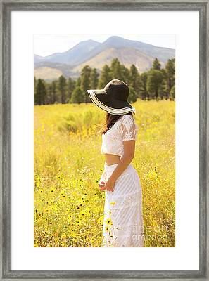 Amongst The Flowers-painterly Framed Print by Amy Sorvillo