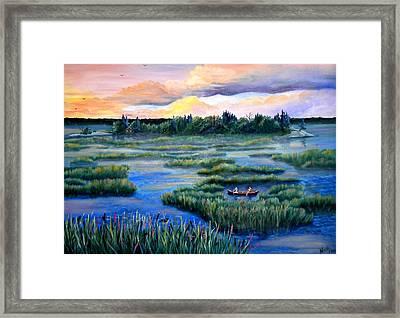 Amongst The Reeds Framed Print