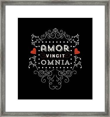 Amor Vincit Omnia Chalkboard Style Framed Print by Antique Images