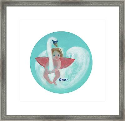 Amorino With Swan Framed Print