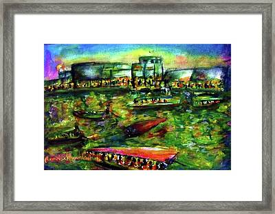 Ampawa Night River Market Framed Print