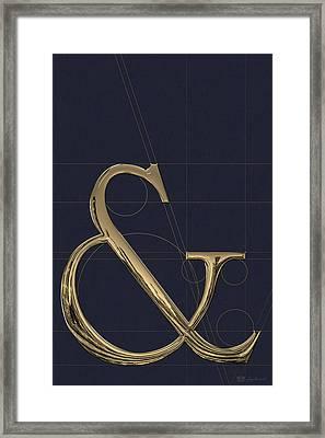 Ampersands - Gold On Slate Gray.   Framed Print by Serge Averbukh
