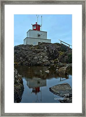 Amphitrite Point Lighthouse Reflections Framed Print by Adam Jewell