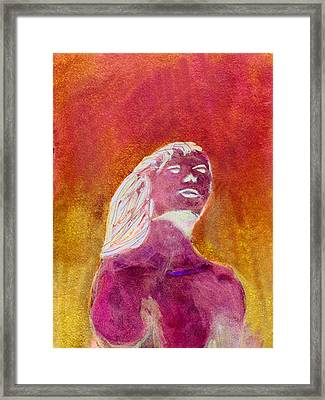 Framed Print featuring the painting Amphitrite Siren Of Sunset Reef by Donna Walsh