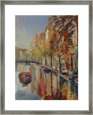 Amsterdam Autumn With Boat Framed Print