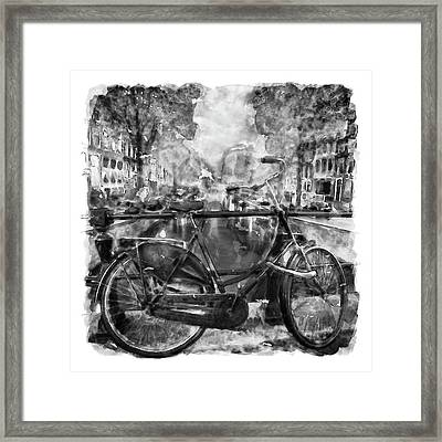 Amsterdam Bicycle Black And White Framed Print
