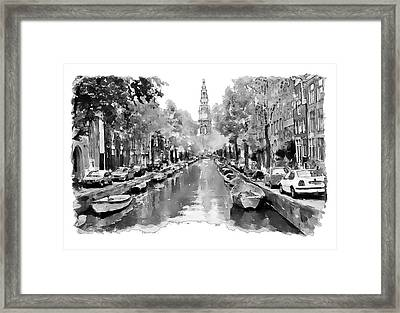Amsterdam Canal 2 Black And White Framed Print