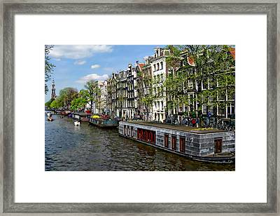 Amsterdam Canal Framed Print by Anthony Dezenzio