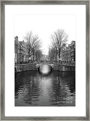 Amsterdam Canal Bridge Black And White Framed Print