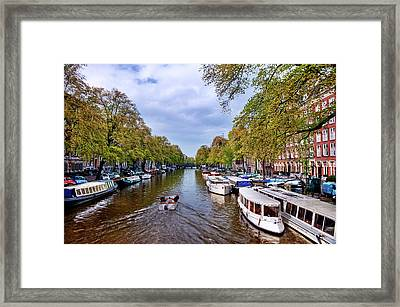Amsterdam Canal In Spring Framed Print by Nathaniel Grant