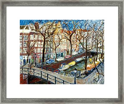 Amsterdam Canal Framed Print by Joan De Bot
