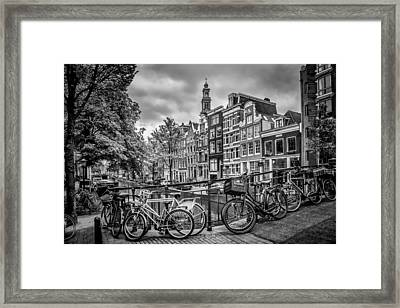 Amsterdam Flower Canal Black And White Framed Print by Melanie Viola