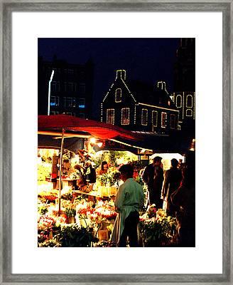 Amsterdam Flower Market Framed Print by Nancy Mueller