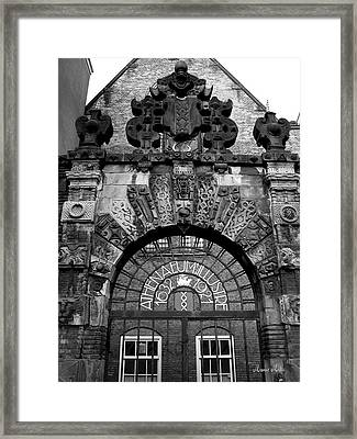 Amsterdam Gate Black And White Framed Print