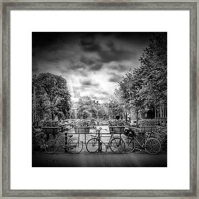 Amsterdam Gentlemen's Canal - Monochrome Framed Print by Melanie Viola