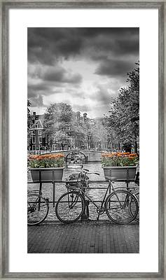 Amsterdam Gentlemen's Canal Upright Panoramic View Framed Print by Melanie Viola