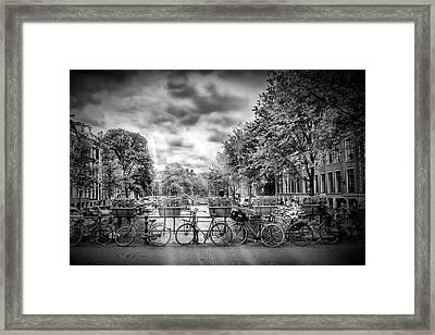 Amsterdam In Monochrome  Framed Print by Melanie Viola