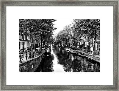 Amsterdam Neighborhood Mono Framed Print by John Rizzuto