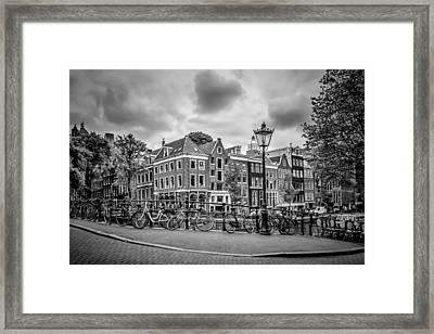 Amsterdam Prince's Canal And Leliegracht Monochrome Framed Print by Melanie Viola