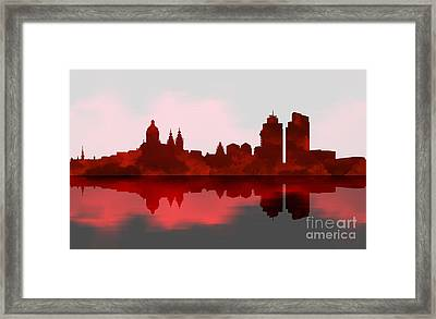 Amsterdam Skyline - Night Red Framed Print by Prar Kulasekara