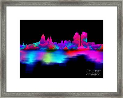 Amsterdam Skyline - Pink Blue Framed Print by Prar Kulasekara