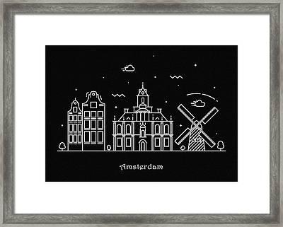 Amsterdam Skyline Travel Poster Framed Print