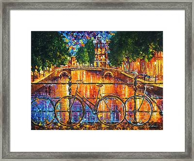 Amsterdam - The Bridge Of Bicycles  Framed Print