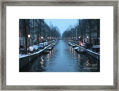 Amsterdam Winter Blues Framed Print by Carol Groenen