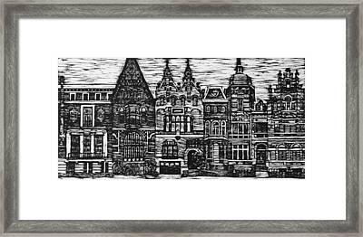 Amsterdam Woodcut Framed Print