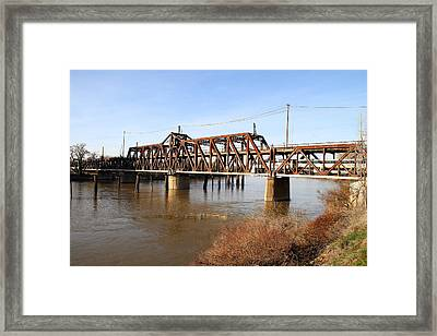 Amtrak California Crossing The Old Sacramento Southern Pacific Train Bridge . 7d11674 Framed Print by Wingsdomain Art and Photography