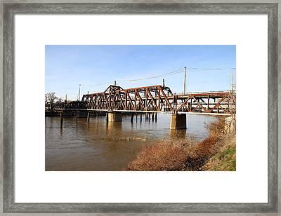 Amtrak California Crossing The Old Sacramento Southern Pacific Train Bridge . 7d11674 Framed Print