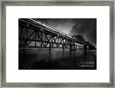 Amtrak Midnight Express 5d18829 Black And White Framed Print by Wingsdomain Art and Photography