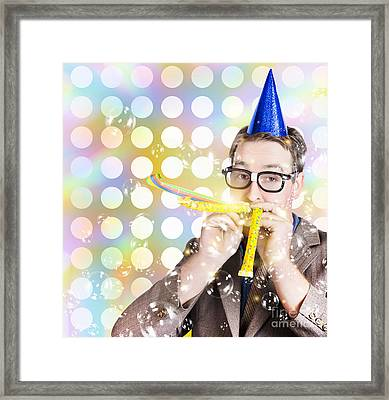 Amusement Man In Party Hat Celebrating A Birthday Bash Framed Print by Jorgo Photography - Wall Art Gallery