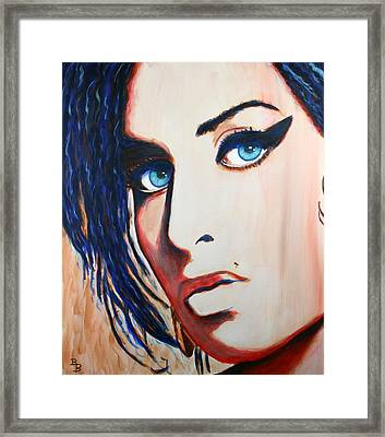 Framed Print featuring the painting Amy Winehouse Back To Blue by Bob Baker