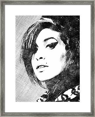 Amy Winehouse Bw Portrait Framed Print by Mihaela Pater