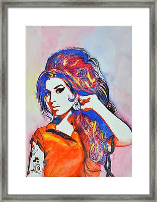 Amy Winehouse In Watercolor Framed Print by Margarete Bom