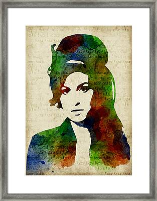 Amy Winehouse Watercolor Framed Print by Mihaela Pater