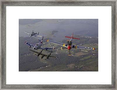 An A-10 Thunderbolt, F-86 Sabre, P-38 Framed Print by Stocktrek Images
