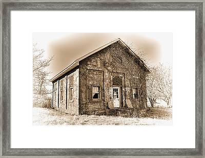 An Abandoned Schoolhouse In Sepia Framed Print by William Sturgell