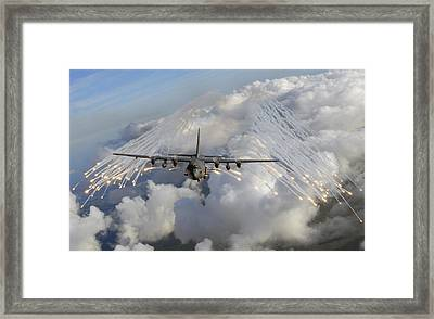 An Ac-130u Gunship Jettisons Flares Framed Print by Stocktrek Images