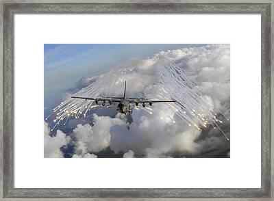 An Ac-130u Gunship Jettisons Flares Framed Print
