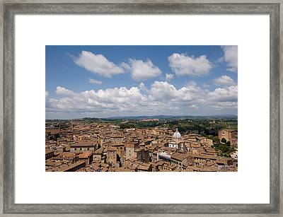An Aerial Of Sienna, Tuscany Framed Print by Joel Sartore