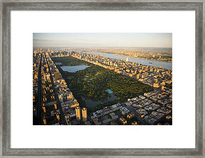 An Aerial View Of Central Park Framed Print by Michael S. Yamashita