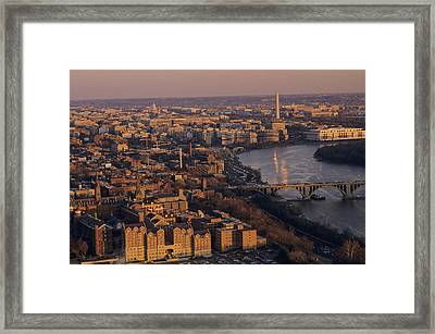 An Aerial View Of D.c. And The Potomac Framed Print by Kenneth Garrett