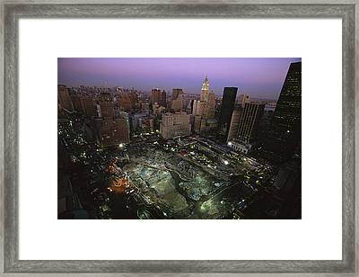 An Aerial View Of Ground Zero Framed Print by Ira Block